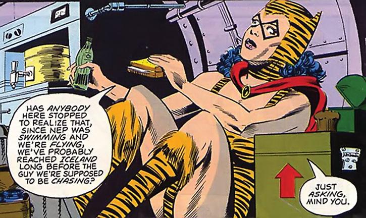 The Tigress (Paula Brooks) eating a sandwhich