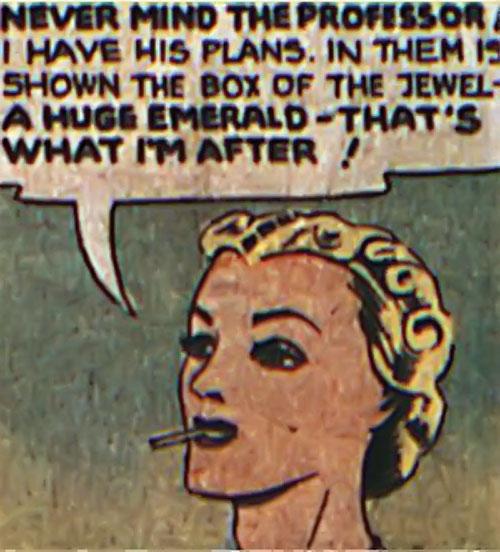 Tigress (Zatara character) (DC Comics Golden Age) face closeup with cigarette