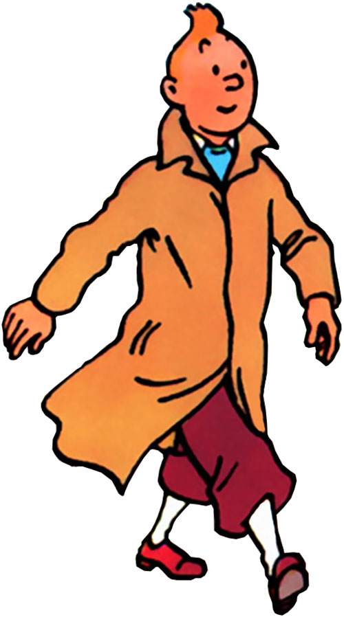 Tintin with his raincoat