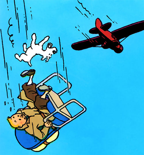 Tintin falling off a plane