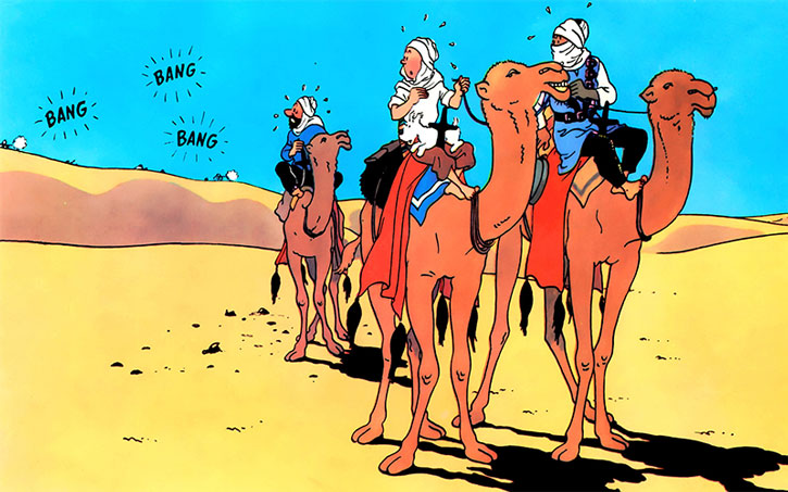Tintin getting shot at while riding a camel