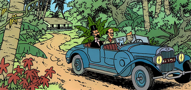 Tintin driving a vintage car in the jungle