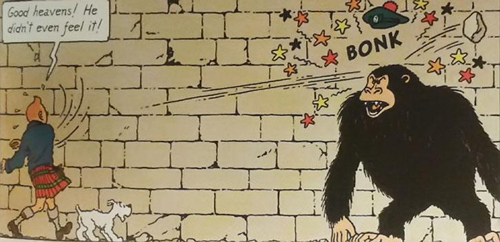 Tintin throws a big rock at a gorilla