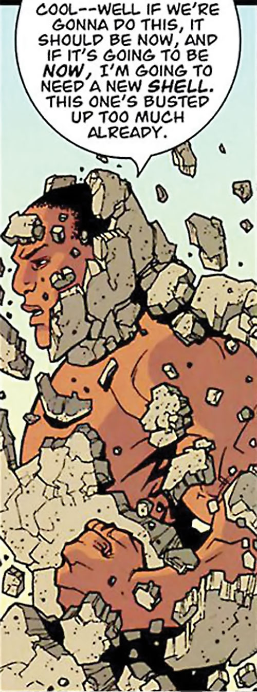 Titan (Invincible Comics) recreates his rock shell