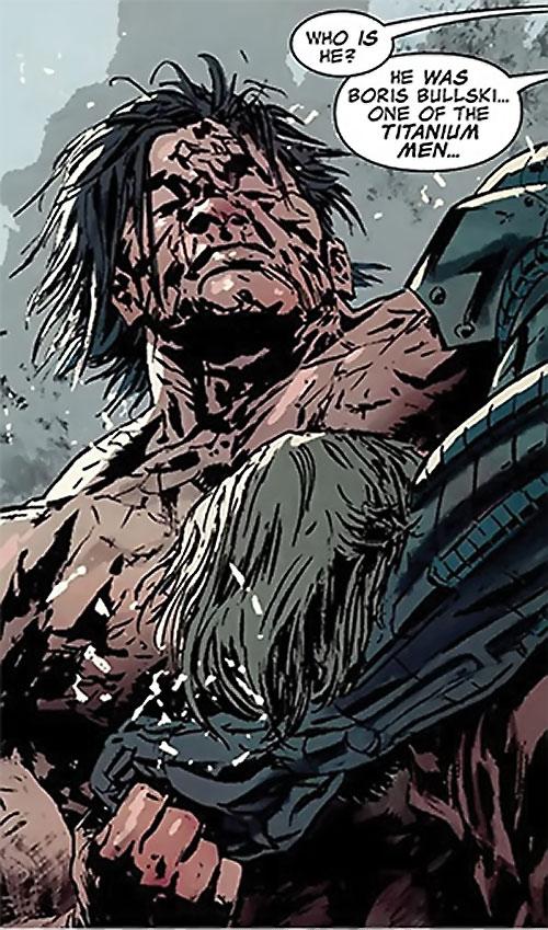 Titanium Man (Iron Man enemy) (Modern Marvel Comics) damaged face and body
