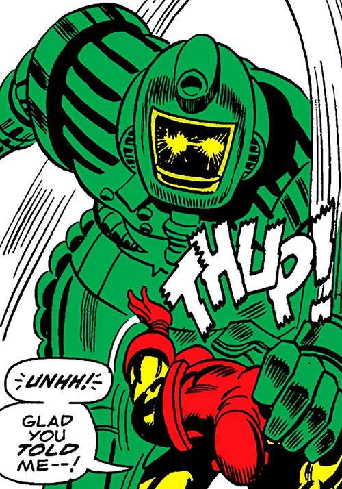 Titanium Man grabs Iron Man