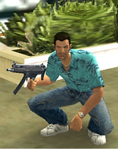 Tommy Vercetti (GTA Vice City) crouching with a submachinegun
