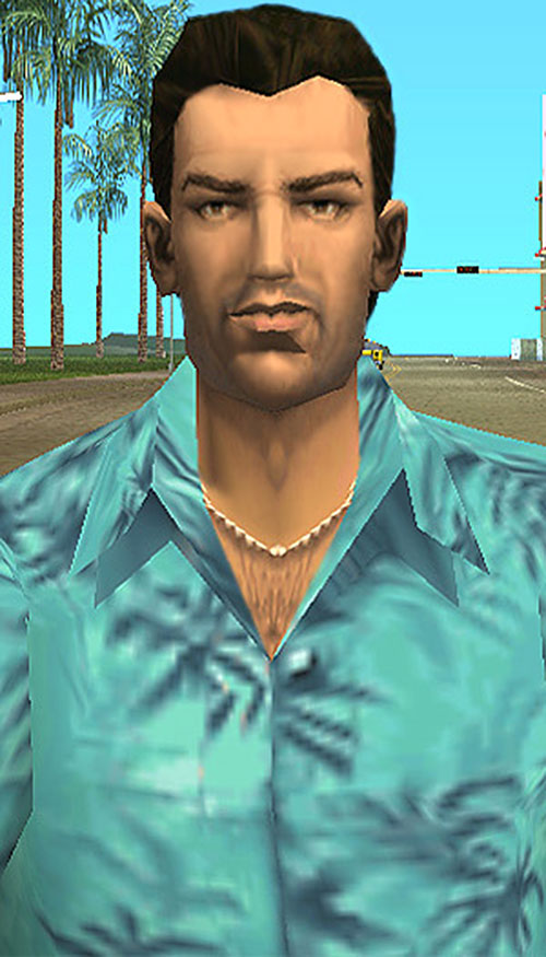 Tommy Vercetti (GTA Vice City) with his teal summer shirt