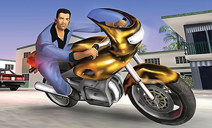 Tommy Vercetti driving a sports bike