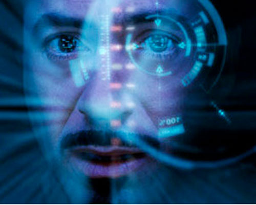 Iron Man (Robert Downey Jr. in the first Marvel movie) face closeup with HUD
