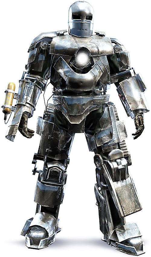 Iron Man (Robert Downey Jr. in the first Marvel movie) earliest armor
