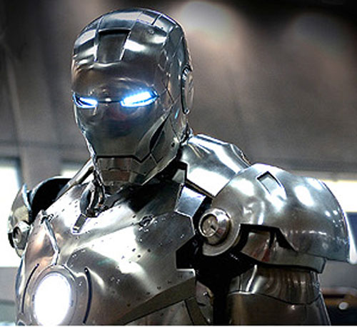 Iron Man (Robert Downey Jr. in the first Marvel movie) MkII prototype suit helmet and shoulders