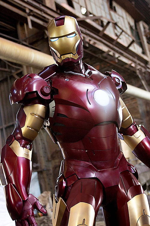Iron Man (Robert Downey Jr. in the first Marvel movie) ready for action