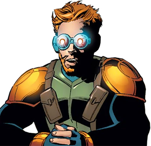 Tracer (Spider-Man robotic enemy) (Marvel Comics) with glowing goggles