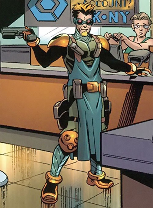 Tracer (Spider-Man robotic enemy) (Marvel Comics) during a bank robbery