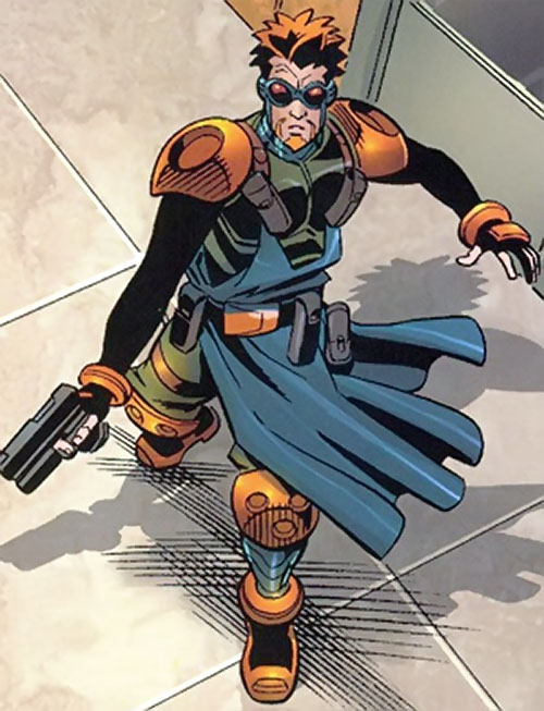 Tracer (Spider-Man robotic enemy) (Marvel Comics) high angle shot with pistol