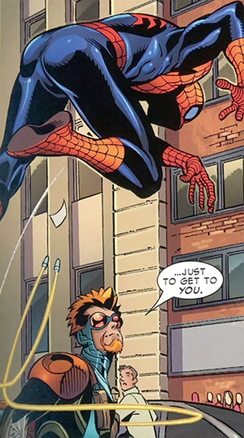Tracer (Spider-Man robotic enemy) (Marvel Comics) has his bullets chase Spider-Man