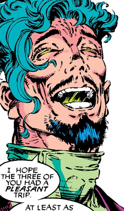 Trevor Fitzroy the Chronomancer (X-Men enemy) (Marvel Comics) laughing face closeup