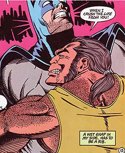 Trogg (Bane / Batman character) (DC Comics) wrestling Batman
