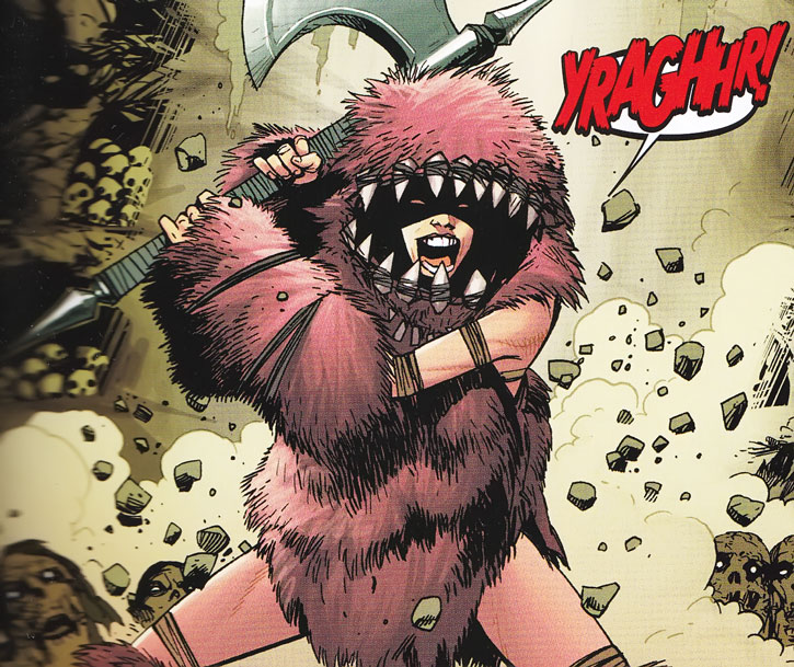Troll of the Thunderbolts (Marvel Comics) yelling and brandishing her axe