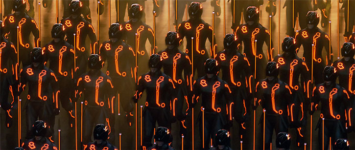 Tron warrior ISOs standing in thick ranks