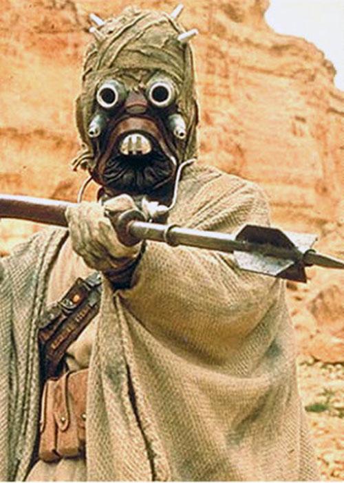 Tusken raider wielding a gaderffi stick (Star Wars)