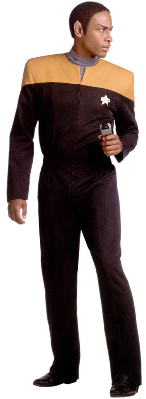 Tuvok (Tim Russ in Star Trek) with a phaser