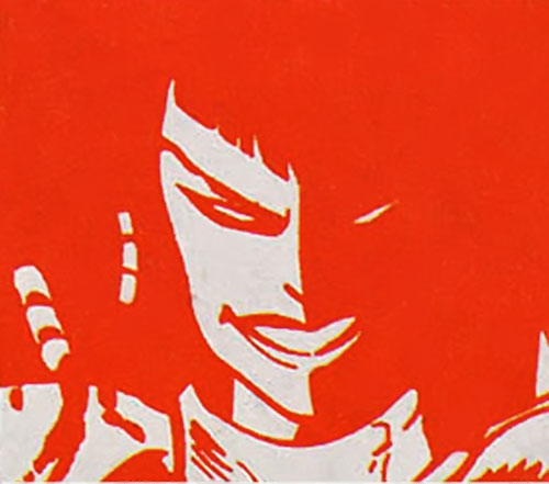 Typhoid (Daredevil character) (Marvel Comics by Nocenti) stylized face in red
