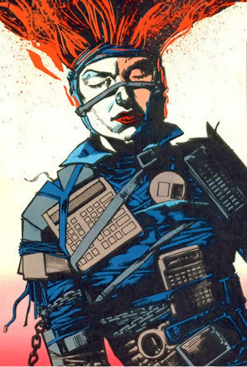 Typhoid (Daredevil character) (Marvel Comics by Nocenti) as Bloody with an office supplies armor