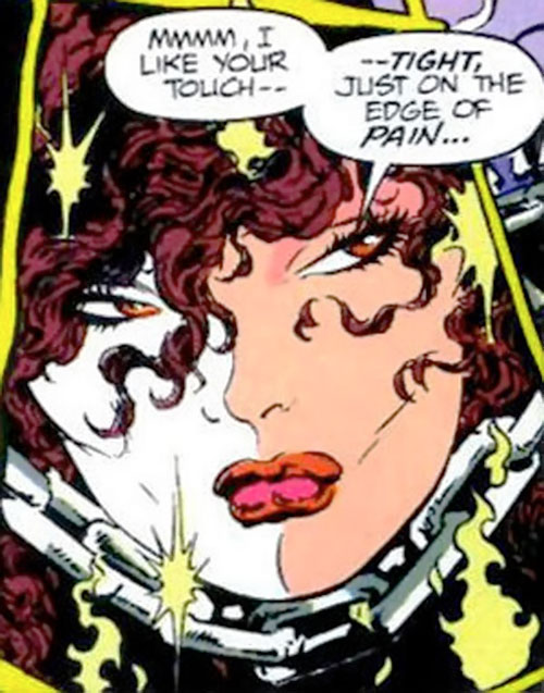 Typhoid (Daredevil character) (Marvel Comics by Nocenti) held by the Ghost Rider's chain