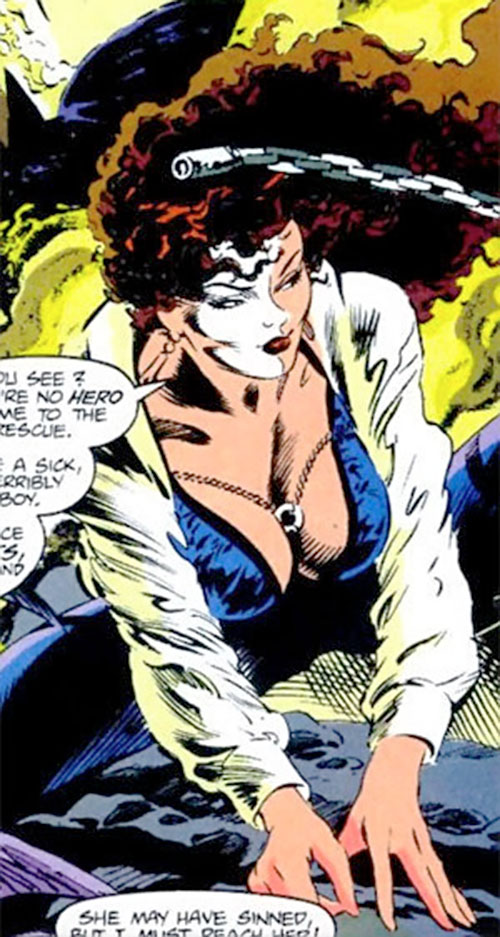 Typhoid (Daredevil character) (Marvel Comics by Nocenti) dodging a weighted chain