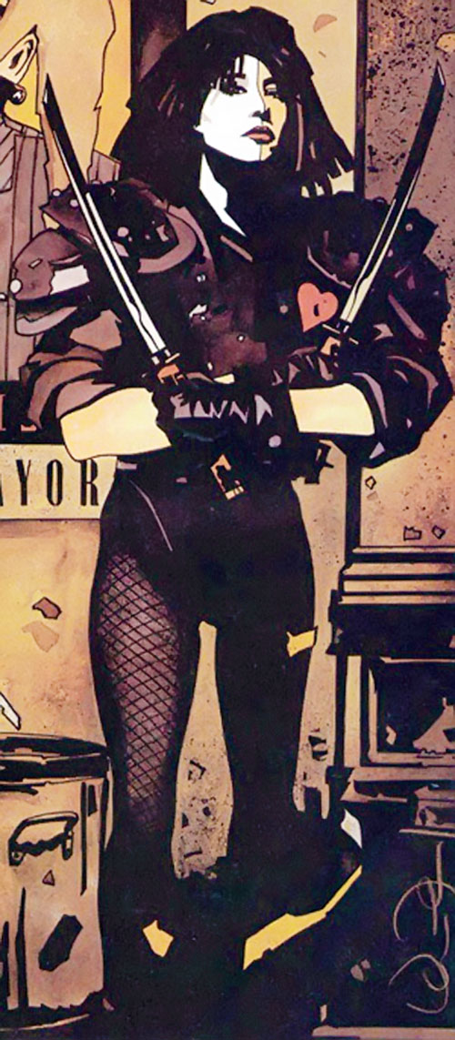 Typhoid (Daredevil character) (Marvel Comics by Nocenti) in an alley with 2 wakizashi