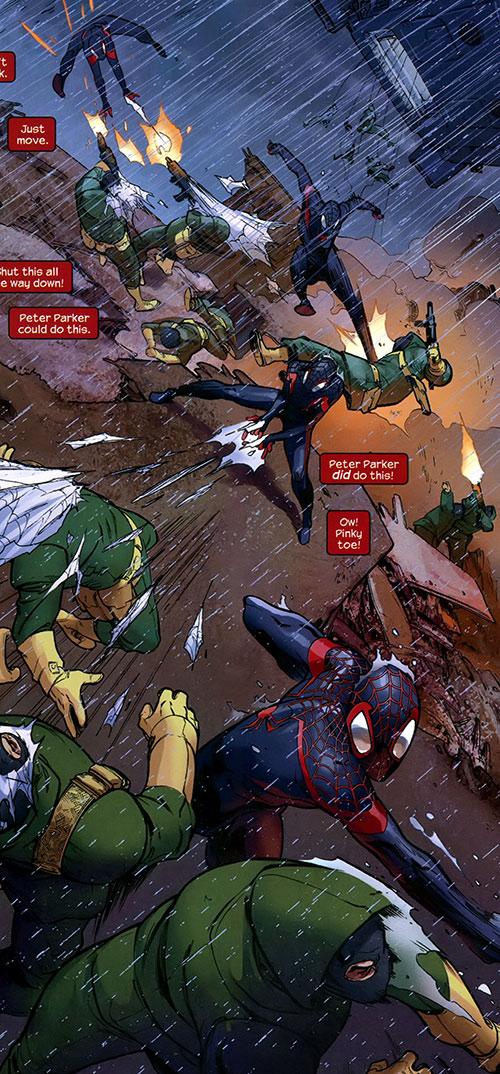 Spider-Man (Miles Morales) (Ultimate Marvel Comics) vs. Hydra soldiers