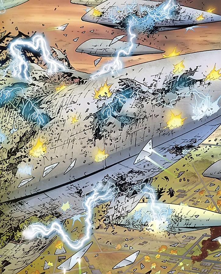Huge lightning storm destroying alien spaceships