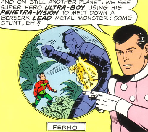 Ultra-Boy of the Legion of Super-Heroes (DC Comics) (Early Silver Age) melting a lead monster