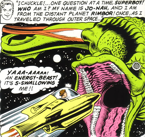 Ultra-Boy of the Legion of Super-Heroes (DC Comics) (Early Silver Age) attacked by the energy beast