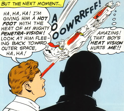 Ultra-Boy of the Legion of Super-Heroes (DC Comics) (Early Silver Age) shoots Krypto with flash vision