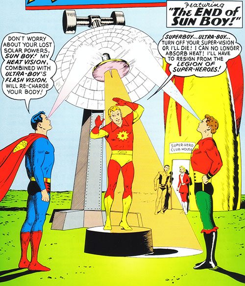Ultra-Boy of the Legion of Super-Heroes (DC Comics) (Early Silver Age) with Superboy and Sun Boy