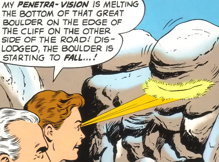 Very early Ultra-Boy melts a boulder with his eye beams