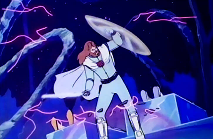 Ulysses 31 (cartoon) wielding his force shield