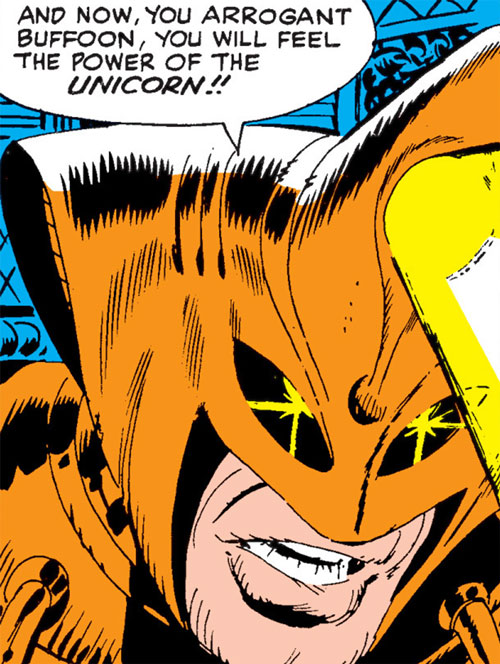 Unicorn (Early) (Marvel Comics) (Iron Man) face and helmet and beam closeup