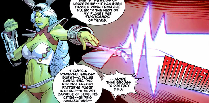 Universa firing a blast from her staff