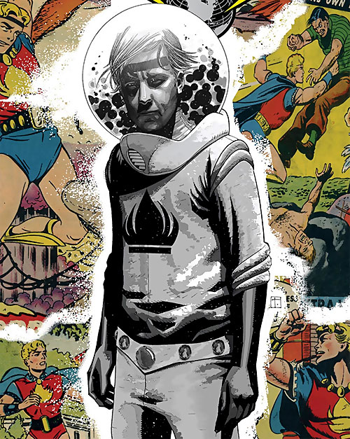 The Uranian of the Agents of Atlas (Marvel Comics) modern appearance contrasted with 1950s flashbacks