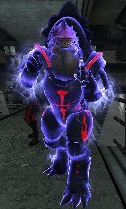 Urdnot Wrex (Mass Effect) preparing a biotic warp