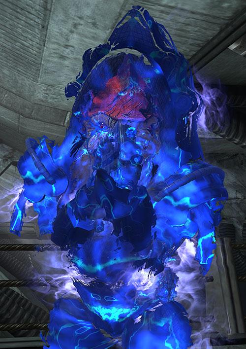 Urdnot Wrex (Mass Effect) with fading biotic barrier