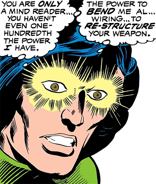 Uri Geller (Daredevil ally) (Marvel Comics) with his eyes glowing