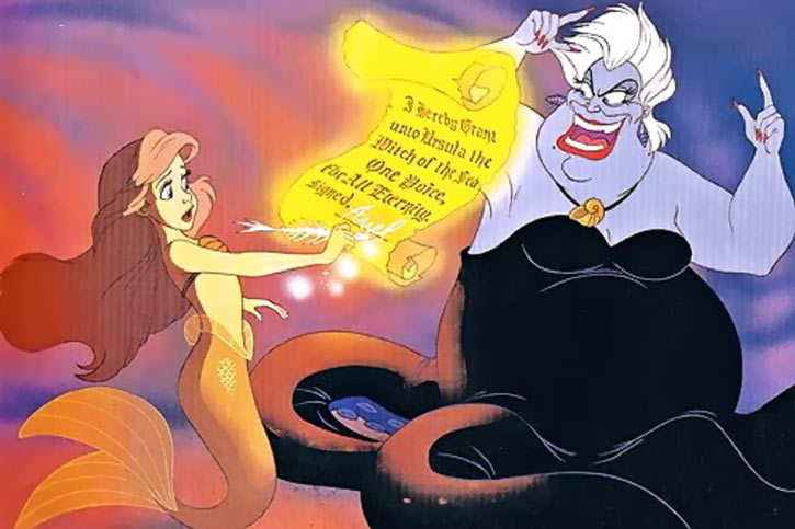 Ursula the sea witch (Disney's little mermaid) - Ariel signs the contract