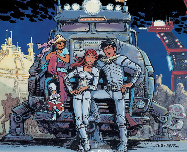Laureline and Valerian (plot/story article) with their space truck and Ky-Gai