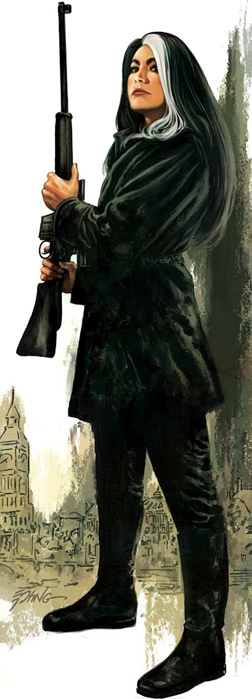 Velvet Templeton (Image Comics by Brubaker and Epting) with a sniper rifle