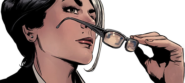 Velvet Templeton (Image Comics by Brubaker and Epting) glasses face closeup